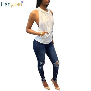HAOYUAN Sexy Backless Top T Shirt Women White Off Shoulder Crop Top Hooded Shirts 2017 Summer Fashion Casual Tee Shirt Top Mujer