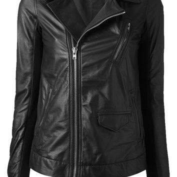 Rick Owens Women's Asymmetrical Zipper Motorcycle Classic Biker Stooges Leather Jacket