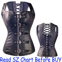 Women Leather Slim Boned Sexy Bodyshaper Bustier Corset,Size S-6XL = 1958561412