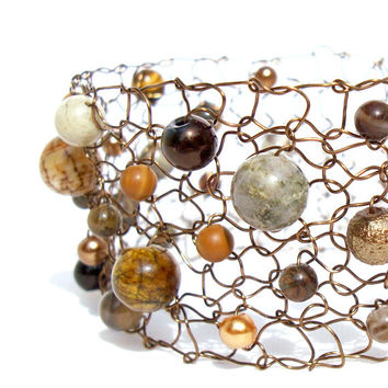 Cuff Bracelet Urban Agate Copper Arm Cuff Natural Stone Exclusive Wire Knit Beaded Jewelry Fall 2013