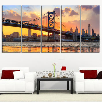 Canvas Print Ben Franklin Bridge and Philadelphia Skyline by Night + Philadelphia Canvas Art Printing + 5 Panel Wall Art Canvas