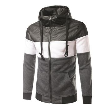 Mens Turtleneck Leather Patchwork Zipper Hoodies by Envmenst
