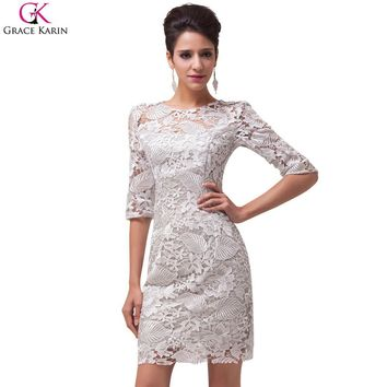 Robe De Soiree Courte Grace Karin Cocktail Dresses 2017 Women Short Formal Gowns Lace Grey Mother Of The Bride Dress With Sleeve