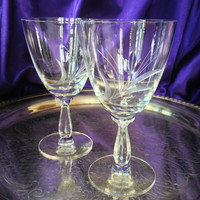 Mid Century Fostoria Water Goblets, Cut Crystal Tulip, Spray Pattern, Ribbed Teardrop Petal Stem, Vintage Elegant Crystal,  Set of Two