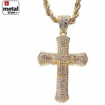 """Jewelry Kay style Men's Hip Hop Iced Out Fully CZ Cross Pendant 30"""" 5mm Rope Chain Set HC 5047 G"""