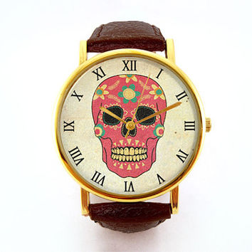 Colorful Sugar Skull Watch, Vintage Inspired, Calavera Watch, Day of the Dead, Ladies Watch, Men's Watch, Analog, Gift Idea