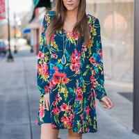 Floral That Matters Dress, Teal