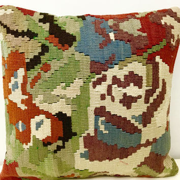 "Colorful kilim pillow, 16X16"" Wool Pillow, Turkish Pillow Covers, Rug Cushion, Boho Vintage pillow, Ethnic Pillow, Kilim Rug Cushion Covers"