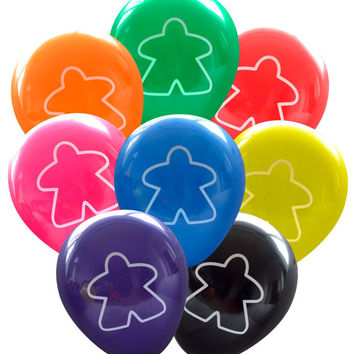 Meeple Balloons - Pack of 8  | Geeky Birthday Party Decorations, Table Top Board Game Event, Board Game Party, Wedding Graduation Convention