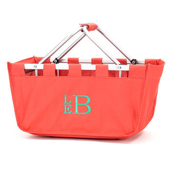 Coral Market Tote, Monogrammed Basket, Personalized Tote Bag, Pool Bag, Teacher Gift, Summer Bag