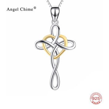 Lucky Knot Gold Love Heart Charm 925 Sterling Silver Cross Pendant Statement Necklaces Fashion Kolye Jewelry For Women