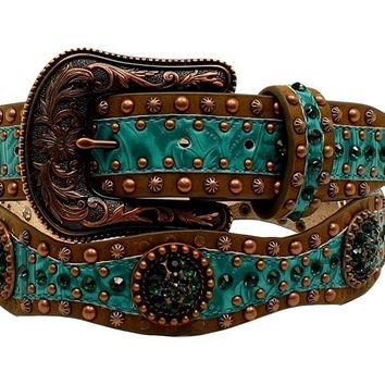 Ariat Women's Scallop Floral Embossed Concho Belt - A1522028