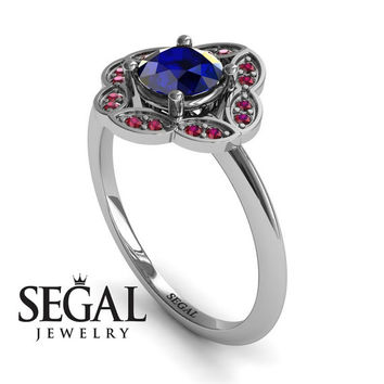 Unique Engagement Ring 14K White Gold Vintage Antique Ring Victorian Ring Sapphire With Ruby - Lucy