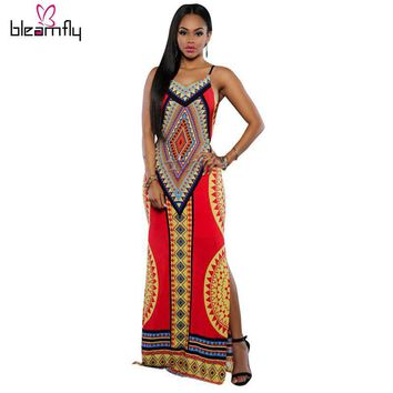 African Dress long maxi spandex  back out M, L, XL plus size