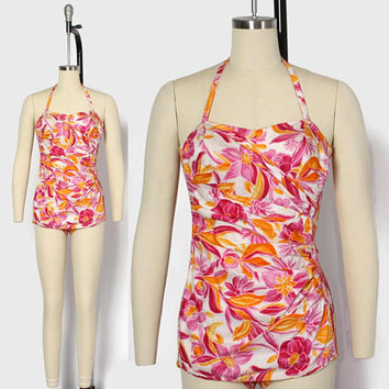 Vintage 50s Hawaiian SWIMSUIT / 1950s Kamehameha Tropical Floral Print Convertible Cotton Swimsuit