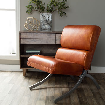 Folks & Future Rialto Rust Leather Chair