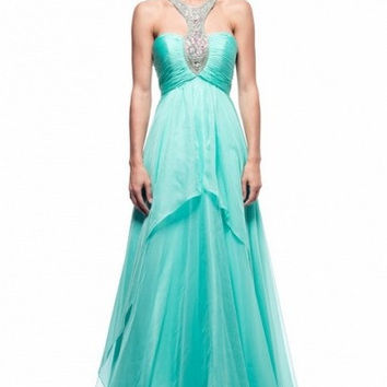 Kari Chang KC32 Mint Jeweled Halter Chiffon Prom Dress