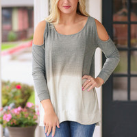 Cold Shoulder Ombre Sweatshirt