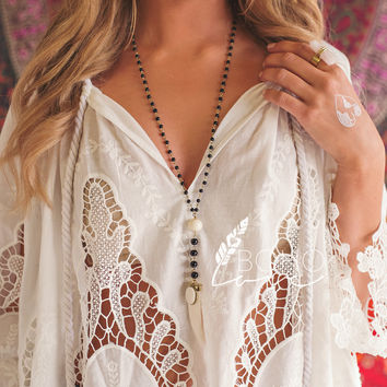 You Don't Own Me Boho Love Beaded White Tooth Necklace