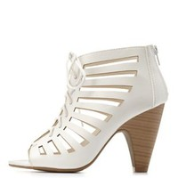 White Laser-Cut Lace-Up Peep Toe Booties by Charlotte Russe