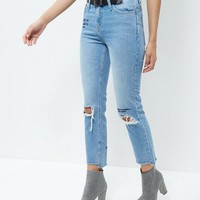 Blue Embroidered Slogan Ripped Knee Straight Leg Jeans