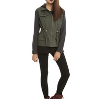 Olive Anorak Charcoal Sleeve Girls Jacket