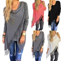 Europestyle knitted sweater poncho slim long classic slash girl poncho jackets with tassel