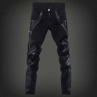 Free shopping new 2014 fashion leather patchwork skinny jeans men brand punk style slim fit pencil pants men /PK6
