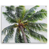 Caribbean Palm - Wall Tapestry, Tropical Palm Tree Interior Accent, Beach Green Coconut Palm Backdrop Tapestry Decor. In Small Medium Large