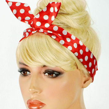 Rosie the Riveter Dolly Bow Bandana Red Dolly Bow Headband New Bandana Hair  Accessories White Polkadots 35ca0b35344