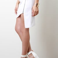 Zipper Asymmetrical Mini Skirt