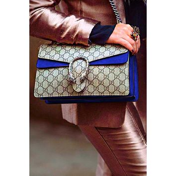 Gucci Fashion Lady Alcoholic Single Shoulder Bag Blue