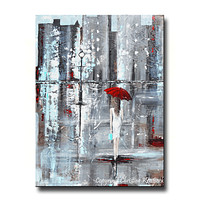 GICLEE PRINT Art Abstract Painting Girl Red Umbrella City Modern Canvas Prints Wall Art Sizes to 60""