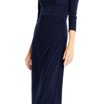 Adrianna Papell - AP1E202382 Beaded Epaulet Draped Jersey Gown