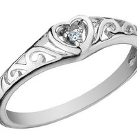 Diamond Heart Promise Ring in 10K White Gold