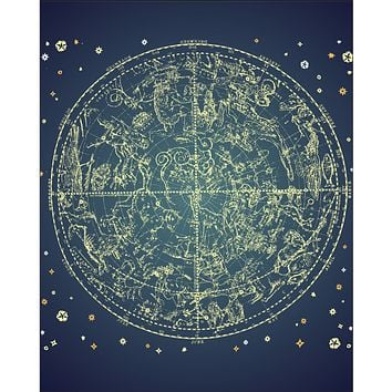 Vintage Zodiac Poster Giclee Constellation Of Northern Stars Navy Mandala Wall Art Print