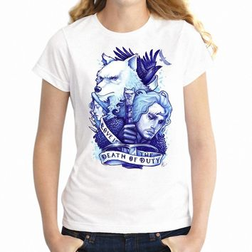 Women's T Shirt Game of Thrones Jon Snow King In The North and Ghost Girl's Tee