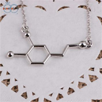 SUSENSTONE DNA Necklace Dopamine Biochemistry Molecule CATOP Chemical Structural