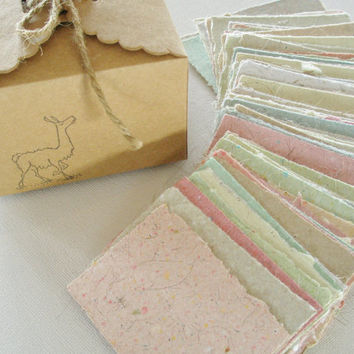 Little Box of Llama Love.  Love Note Paper - 120 Tiny Sheets of Handmade Recycled Paper with Llama Fibre.