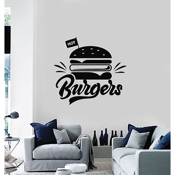 Vinyl Wall Decal Hot Burgers Fast Food Restaurant Kitchen Decor Stickers Mural (g865)
