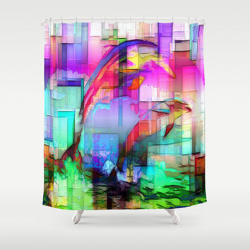 Dolphins Shower Curtain by WhatisArt