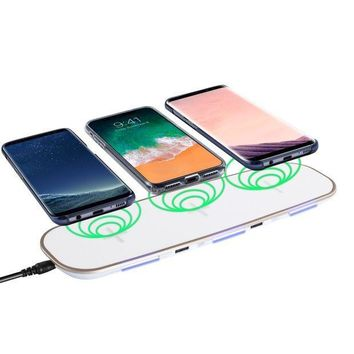 ICIK4S2 Qi Compatible Wireless Charger, Insten Wireless Charging Pad Charging Hub w/ 3 Slots, 2 USB Ports, Charge Up to 5 Devices for Apple iPhone X/iPhone 8/8 Plus/Samsung Galaxy S8/S7/Note 8, White