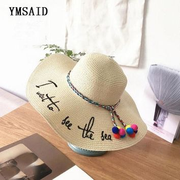 Ymsaid Brand Letter Embroidery Cap Big Brim Ladies Summer Straw Hat Youth Hats For Women Shade Sunhat Beach Caps Leisure