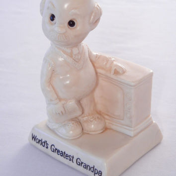 Worlds Greatest Grandpa Figurine, R & W Berrie Co., Ivory White, Grandpa with TV, 1975