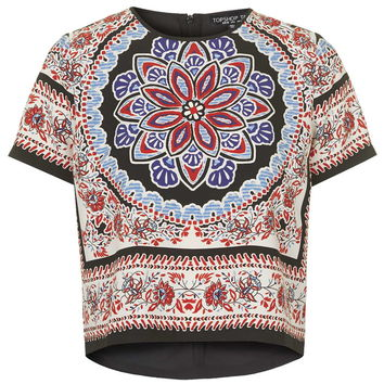TALL Scarf Print Placement Tee - Topshop