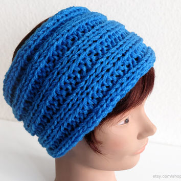 Blue ribbed headband, very soft wool earwarmer, knit hairband, stretchy head-wrap, true blue, textured knit, sports, gift men, gift women