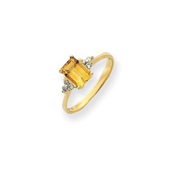 0.09 Ct  14k Yellow Gold 7x5mm Emerald Cut Citrine Diamond Ring SI2/SI3 Clarity and G/I Color