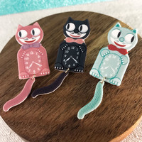 Kit Cat Clock Moving Handmade Lapel Pinback