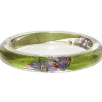 Real Flower Bangle, Green Bangle, Botanical Jewelry, Flower Bangle, Resin Bangle, Resin Bracelet, Flower Jewelry, Friendship Bracelet