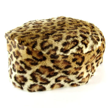 Vintage Women's Leopard Print Pill Box Hat / Cocktail Style by David's Famous Furs Mt Lebanon, PA  Real Fur / Mad Men Style